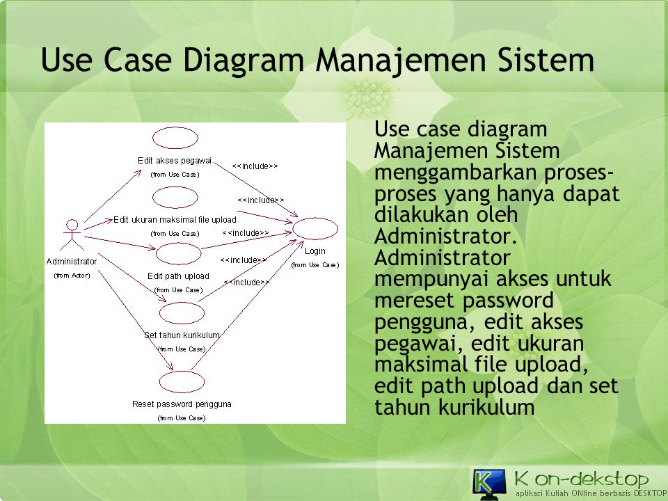 Use Case Diagram Manajemen Sistem Use case diagram Manajemen Sistem menggambarkan proses- proses yang hanya dapat dilakukan oleh Administrator. Admini