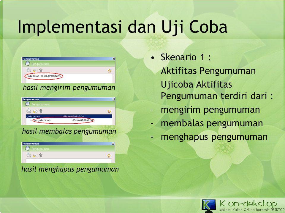 Implementasi dan Uji Coba •Skenario 1 : Aktifitas Pengumuman Ujicoba Aktifitas Pengumuman terdiri dari : –mengirim pengumuman -membalas pengumuman -me