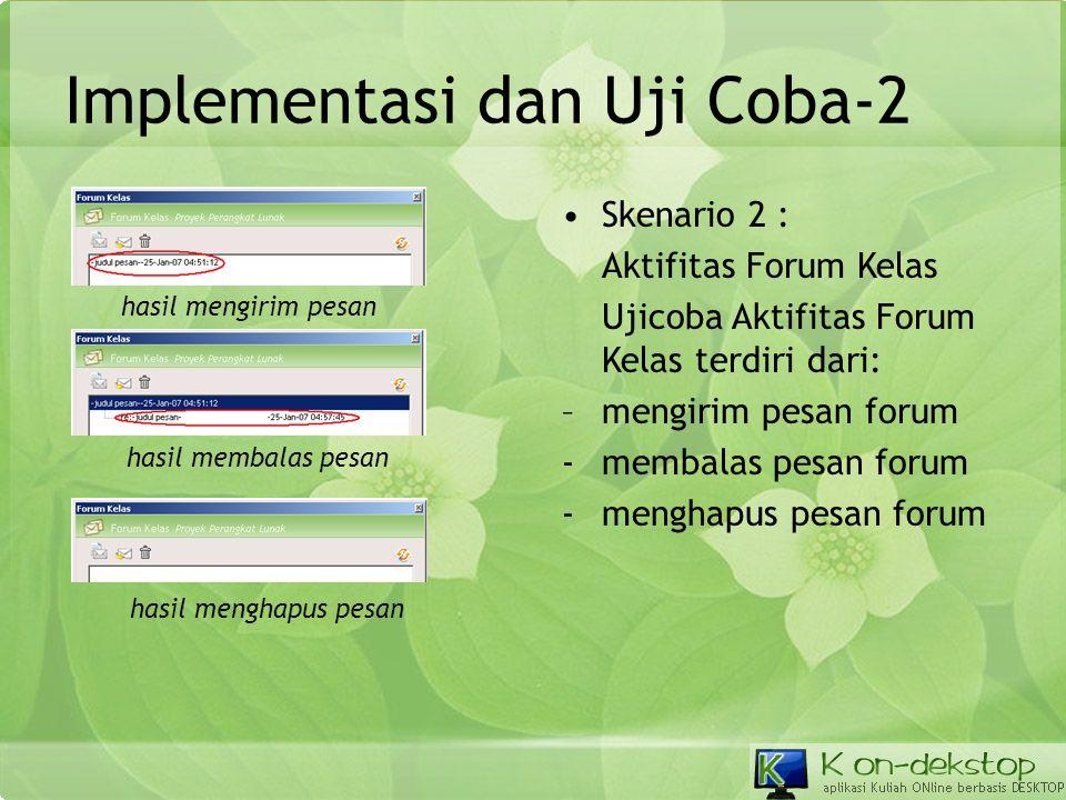 Implementasi dan Uji Coba-2 •Skenario 2 : Aktifitas Forum Kelas Ujicoba Aktifitas Forum Kelas terdiri dari: –mengirim pesan forum -membalas pesan foru