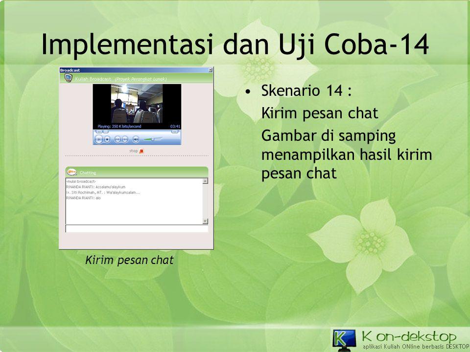 Implementasi dan Uji Coba-14 •Skenario 14 : Kirim pesan chat Gambar di samping menampilkan hasil kirim pesan chat Kirim pesan chat