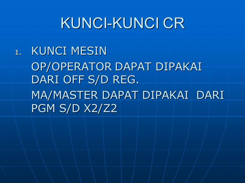 KUNCI-KUNCI CR 1. KUNCI MESIN OP/OPERATOR DAPAT DIPAKAI DARI OFF S/D REG. MA/MASTER DAPAT DIPAKAI DARI PGM S/D X2/Z2
