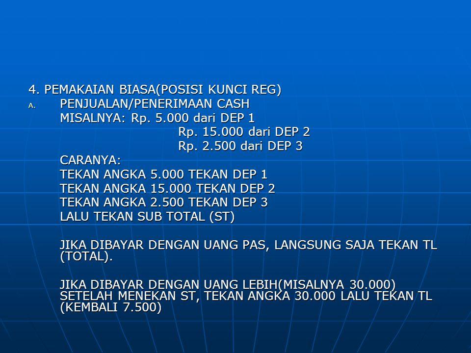 4. PEMAKAIAN BIASA(POSISI KUNCI REG) A. PENJUALAN/PENERIMAAN CASH MISALNYA: Rp. 5.000 dari DEP 1 Rp. 15.000 dari DEP 2 Rp. 15.000 dari DEP 2 Rp. 2.500