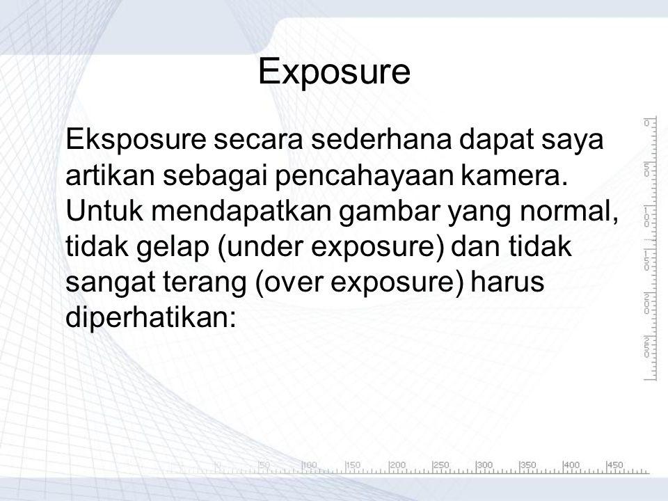 Exposure Eksposure secara sederhana dapat saya artikan sebagai pencahayaan kamera. Untuk mendapatkan gambar yang normal, tidak gelap (under exposure)