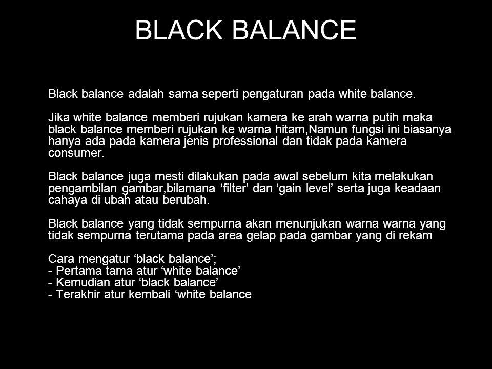 BLACK BALANCE Black balance adalah sama seperti pengaturan pada white balance. Jika white balance memberi rujukan kamera ke arah warna putih maka blac