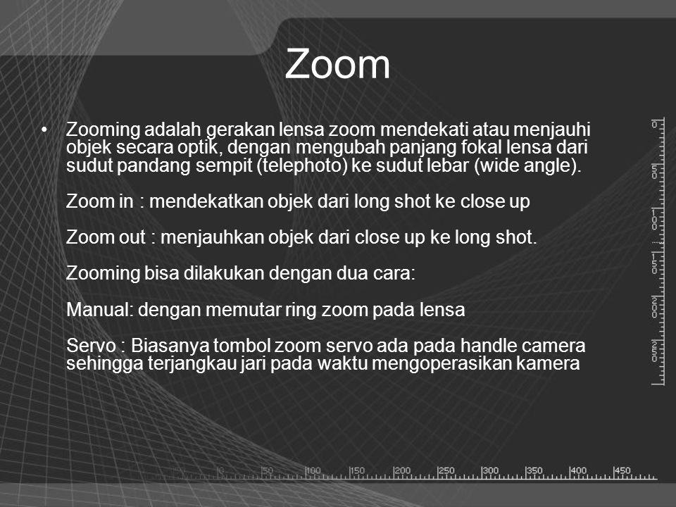 Zoom •Zooming adalah gerakan lensa zoom mendekati atau menjauhi objek secara optik, dengan mengubah panjang fokal lensa dari sudut pandang sempit (tel