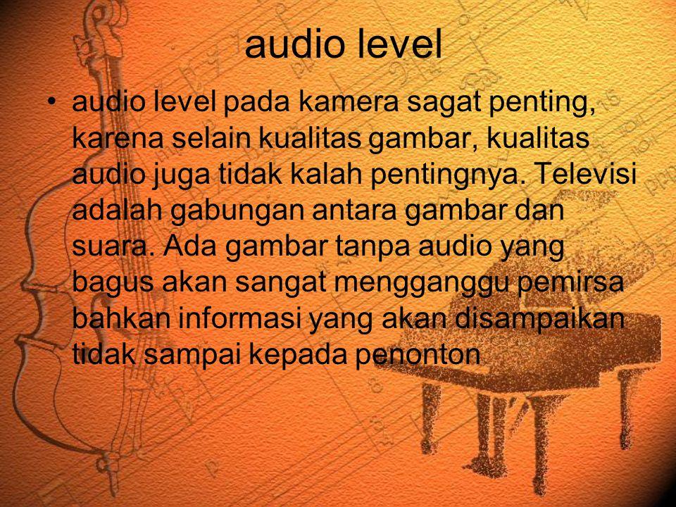 audio level •audio level pada kamera sagat penting, karena selain kualitas gambar, kualitas audio juga tidak kalah pentingnya. Televisi adalah gabunga