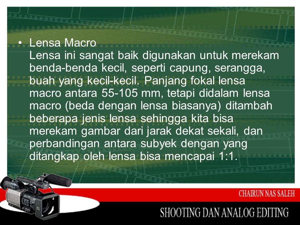 •Lensa Macro Lensa ini sangat baik digunakan untuk merekam benda-benda kecil, seperti capung, serangga, buah yang kecil-kecil. Panjang fokal lensa mac