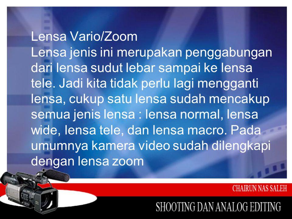 Lensa Vario/Zoom Lensa jenis ini merupakan penggabungan dari lensa sudut lebar sampai ke lensa tele. Jadi kita tidak perlu lagi mengganti lensa, cukup
