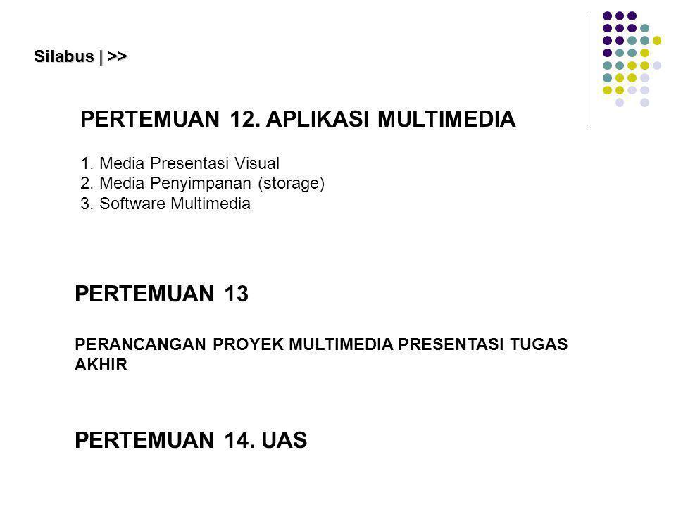 PERTEMUAN 13 PERANCANGAN PROYEK MULTIMEDIA PRESENTASI TUGAS AKHIR Silabus | >> PERTEMUAN 12. APLIKASI MULTIMEDIA 1. Media Presentasi Visual 2. Media P