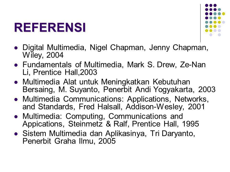 REFERENSI  Digital Multimedia, Nigel Chapman, Jenny Chapman, Wiley, 2004  Fundamentals of Multimedia, Mark S. Drew, Ze-Nan Li, Prentice Hall,2003 