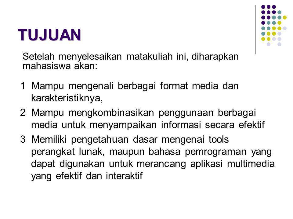 TUJUAN 1 Mampu mengenali berbagai format media dan karakteristiknya, 2 Mampu mengkombinasikan penggunaan berbagai media untuk menyampaikan informasi s