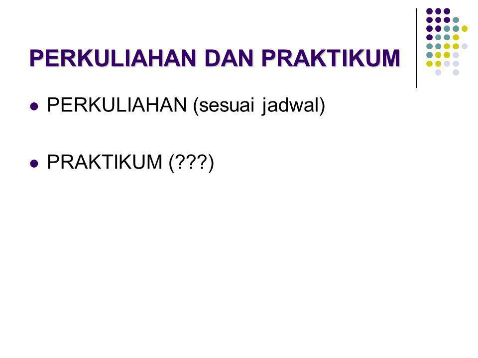 PERKULIAHAN DAN PRAKTIKUM  PERKULIAHAN (sesuai jadwal)  PRAKTIKUM (???)