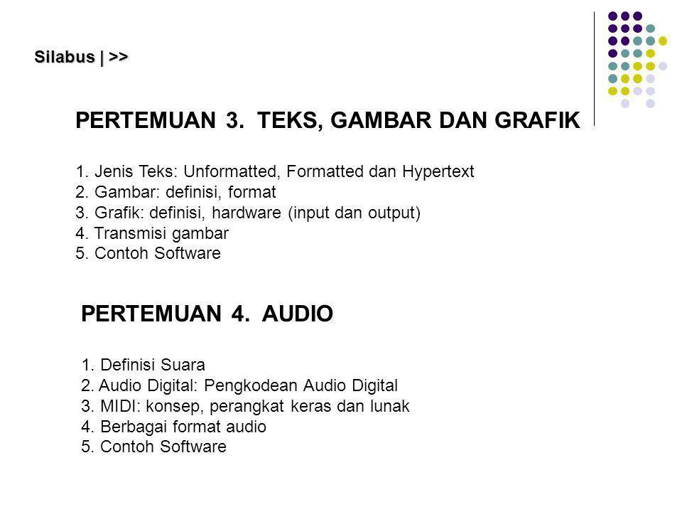 PERTEMUAN 3. TEKS, GAMBAR DAN GRAFIK 1. Jenis Teks: Unformatted, Formatted dan Hypertext 2. Gambar: definisi, format 3. Grafik: definisi, hardware (in
