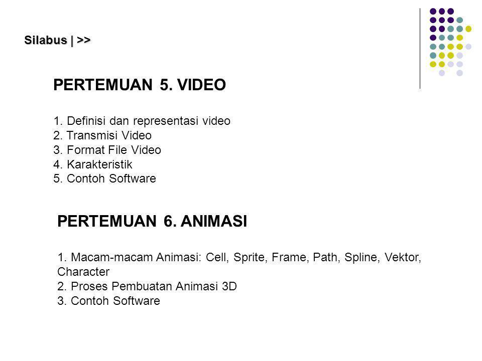 PERTEMUAN 5. VIDEO 1. Definisi dan representasi video 2. Transmisi Video 3. Format File Video 4. Karakteristik 5. Contoh Software Silabus | >> PERTEMU