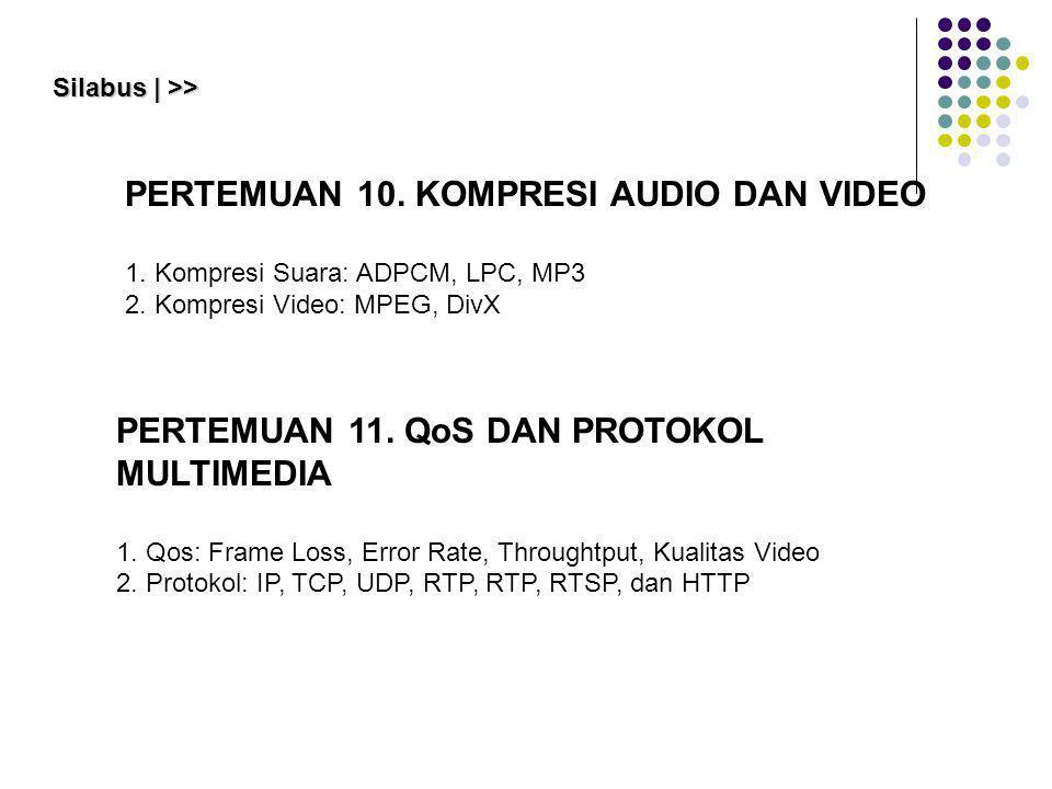 PERTEMUAN 11. QoS DAN PROTOKOL MULTIMEDIA 1. Qos: Frame Loss, Error Rate, Throughtput, Kualitas Video 2. Protokol: IP, TCP, UDP, RTP, RTP, RTSP, dan H