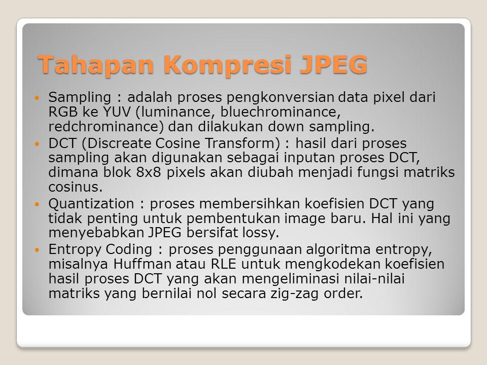 Tahapan Kompresi JPEG Tahapan Kompresi JPEG  Sampling : adalah proses pengkonversian data pixel dari RGB ke YUV (luminance, bluechrominance, redchrom