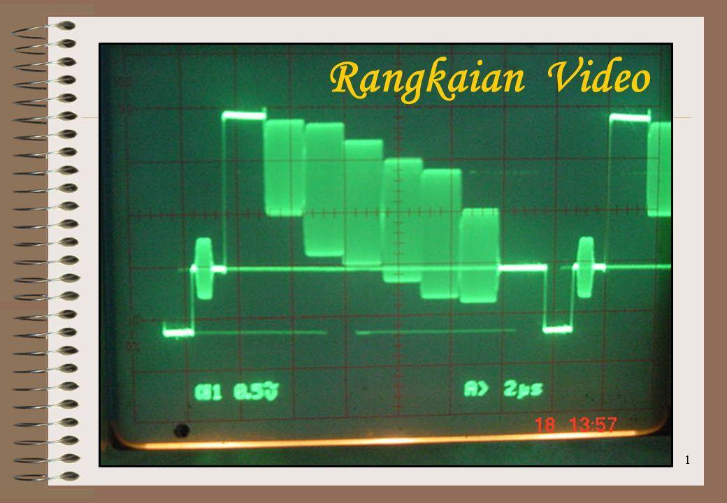 12 Proses Pembentukan Sinyal Luminan dan Sinyal Perbedaan warna E Y = 0,299 E R + 0,587 E G + 0,114 E B E R – E Y = 0,701 E R – 0,587 E G – 0,114 E B E B – E Y = – 0,299 E R – 0,587 E G + 0,886 E B E G – E Y = – 0,299 E R + 0,413 E G – 0,114 E B E G – E Y dapat dibuat dari sinyal E R – E Y dan sinyal E B – E Y sbb: 0,299 E R + 0,587 E G + 0,114 E B – E Y = 0 * E Y = 0,299 E R + 0,587 E G + 0,114 E B ** 0,299 (E R – E Y ) + 0,587 (E G – E Y ) + 0,114 (E B – E Y ) = 0 0,587 (E G – E Y ) = – 0,299 (E R – E Y ) – 0,114 (E B – E Y ) (E G – E Y ) = – 0,299/0,587 (E R – E Y ) – 0,114 /0,587 (E B – E Y ) (E G – E Y ) = – 0,51 (E R – E Y ) – 0,19 (E B – E Y )