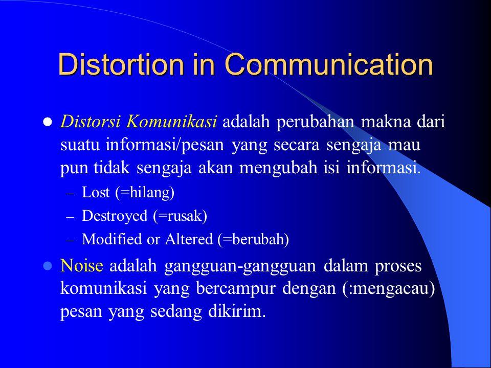 Distortion in Communication  Distorsi Komunikasi adalah perubahan makna dari suatu informasi/pesan yang secara sengaja mau pun tidak sengaja akan men