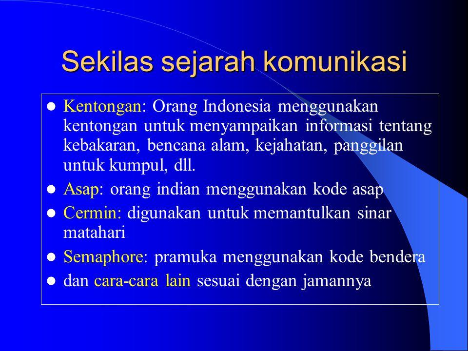 Sekilas sejarah komunikasi  Kentongan: Orang Indonesia menggunakan kentongan untuk menyampaikan informasi tentang kebakaran, bencana alam, kejahatan,