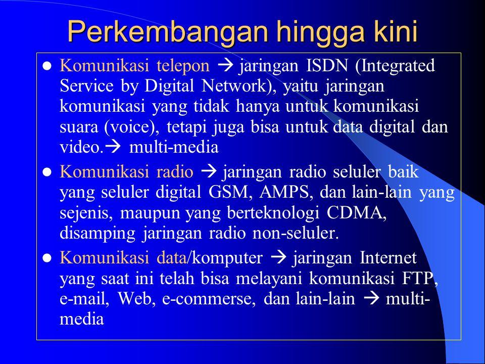Perkembangan hingga kini  Komunikasi telepon  jaringan ISDN (Integrated Service by Digital Network), yaitu jaringan komunikasi yang tidak hanya untu