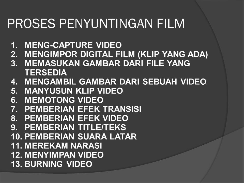 PROSES PENYUNTINGAN FILM 1.MENG-CAPTURE VIDEO 2.MENGIMPOR DIGITAL FILM (KLIP YANG ADA) 3.MEMASUKAN GAMBAR DARI FILE YANG TERSEDIA 4.MENGAMBIL GAMBAR DARI SEBUAH VIDEO 5.MANYUSUN KLIP VIDEO 6.MEMOTONG VIDEO 7.PEMBERIAN EFEK TRANSISI 8.PEMBERIAN EFEK VIDEO 9.PEMBERIAN TITLE/TEKS 10.PEMBERIAN SUARA LATAR 11.MEREKAM NARASI 12.MENYIMPAN VIDEO 13.BURNING VIDEO