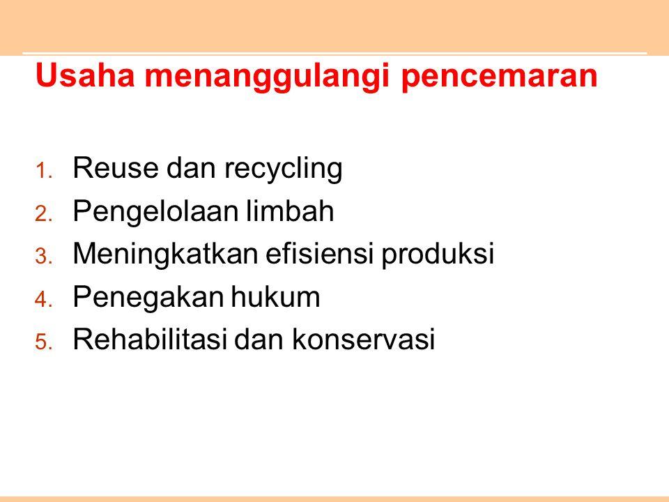 Usaha menanggulangi pencemaran 1. Reuse dan recycling 2. Pengelolaan limbah 3. Meningkatkan efisiensi produksi 4. Penegakan hukum 5. Rehabilitasi dan