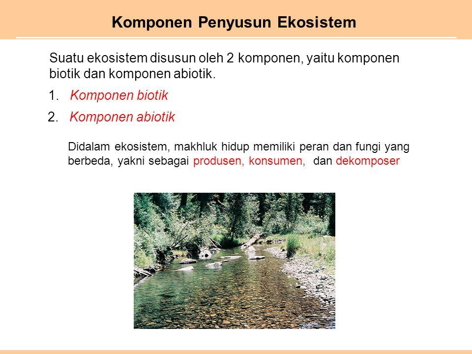 Komponen Penyusun Ekosistem 1. Komponen biotik 2. Komponen abiotik Suatu ekosistem disusun oleh 2 komponen, yaitu komponen biotik dan komponen abiotik