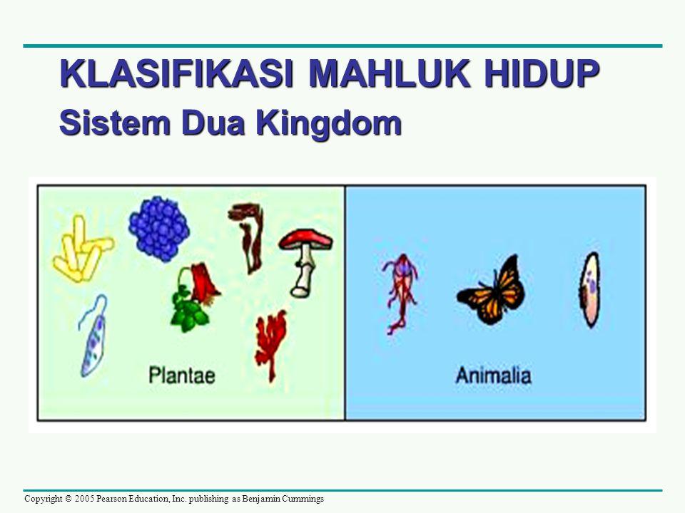 Copyright © 2005 Pearson Education, Inc. publishing as Benjamin Cummings KLASIFIKASI MAHLUK HIDUP Sistem Dua Kingdom