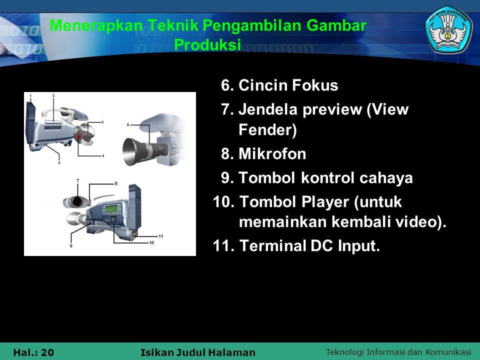 Teknologi Informasi dan Komunikasi Hal.: 20Isikan Judul Halaman Menerapkan Teknik Pengambilan Gambar Produksi 6. Cincin Fokus 7. Jendela preview (View