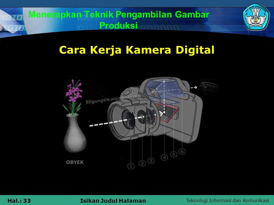 Teknologi Informasi dan Komunikasi Hal.: 33Isikan Judul Halaman Menerapkan Teknik Pengambilan Gambar Produksi Cara Kerja Kamera Digital