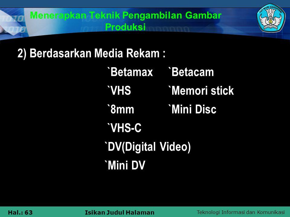Teknologi Informasi dan Komunikasi Hal.: 63Isikan Judul Halaman Menerapkan Teknik Pengambilan Gambar Produksi 2) Berdasarkan Media Rekam : `Betamax `B