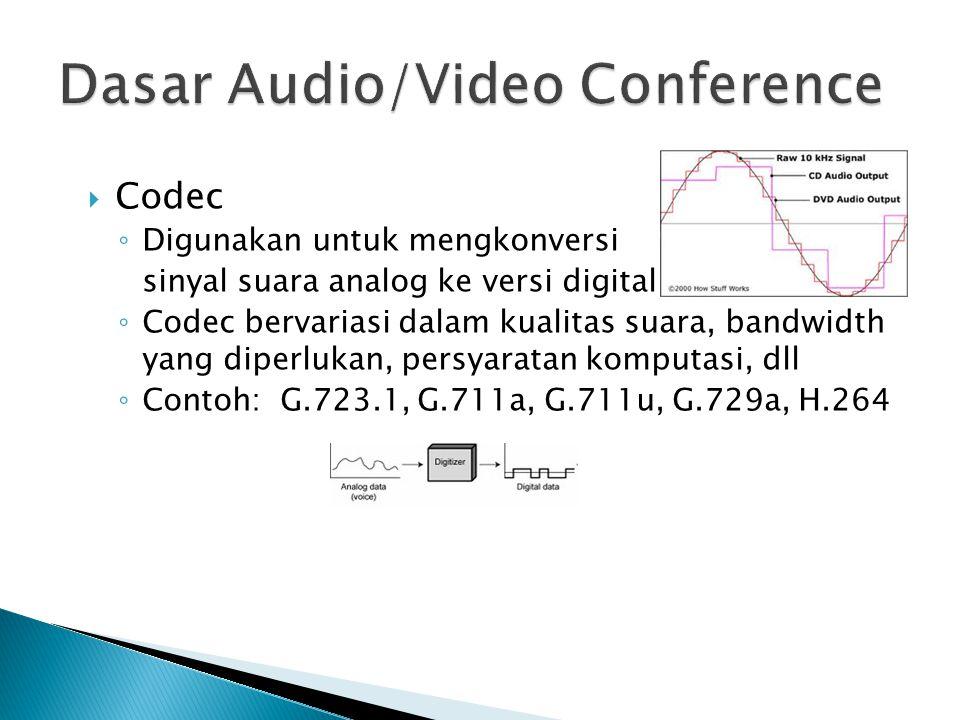  Codec ◦ Digunakan untuk mengkonversi sinyal suara analog ke versi digital ◦ Codec bervariasi dalam kualitas suara, bandwidth yang diperlukan, persyaratan komputasi, dll ◦ Contoh: G.723.1, G.711a, G.711u, G.729a, H.264