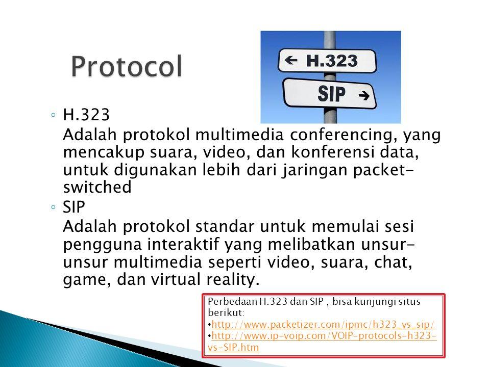 ◦ H.323 Adalah protokol multimedia conferencing, yang mencakup suara, video, dan konferensi data, untuk digunakan lebih dari jaringan packet- switched ◦ SIP Adalah protokol standar untuk memulai sesi pengguna interaktif yang melibatkan unsur- unsur multimedia seperti video, suara, chat, game, dan virtual reality.