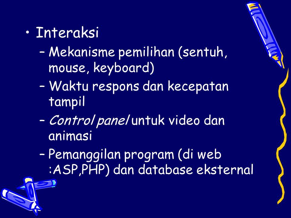 •Interaksi –Mekanisme pemilihan (sentuh, mouse, keyboard) –Waktu respons dan kecepatan tampil –Control panel untuk video dan animasi –Pemanggilan prog