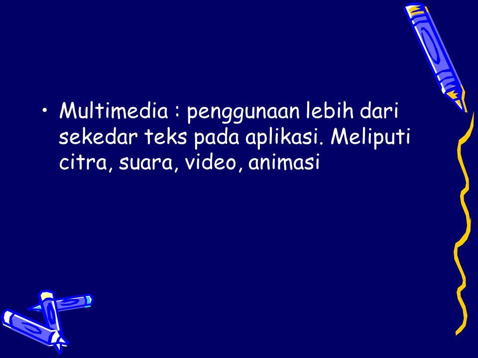 •Multimedia : penggunaan lebih dari sekedar teks pada aplikasi. Meliputi citra, suara, video, animasi