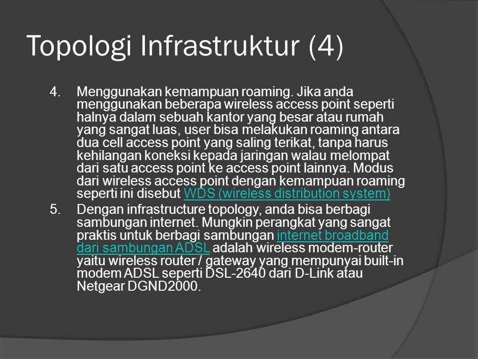 Topologi Infrastruktur (4) 4.Menggunakan kemampuan roaming. Jika anda menggunakan beberapa wireless access point seperti halnya dalam sebuah kantor ya