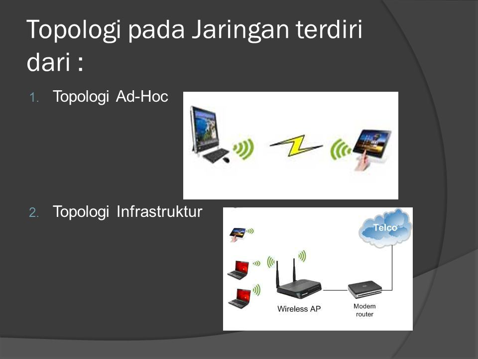 Topologi pada Jaringan terdiri dari : 1. Topologi Ad-Hoc 2. Topologi Infrastruktur