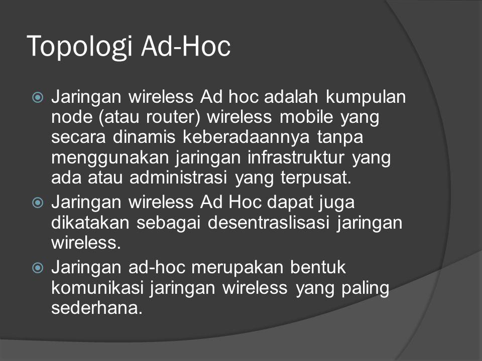 Topologi Ad-Hoc  Jaringan wireless Ad hoc adalah kumpulan node (atau router) wireless mobile yang secara dinamis keberadaannya tanpa menggunakan jaringan infrastruktur yang ada atau administrasi yang terpusat.