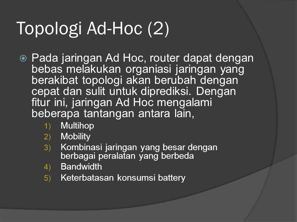Topologi Ad-Hoc (2)  Pada jaringan Ad Hoc, router dapat dengan bebas melakukan organiasi jaringan yang berakibat topologi akan berubah dengan cepat d