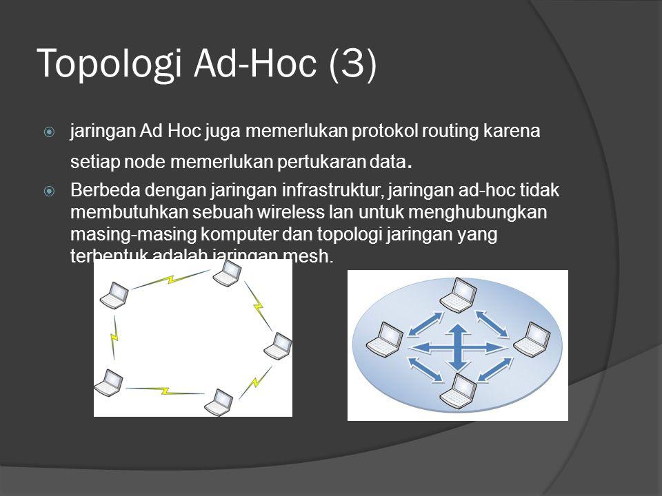 Topologi Ad-Hoc (3)  jaringan Ad Hoc juga memerlukan protokol routing karena setiap node memerlukan pertukaran data.  Berbeda dengan jaringan infras