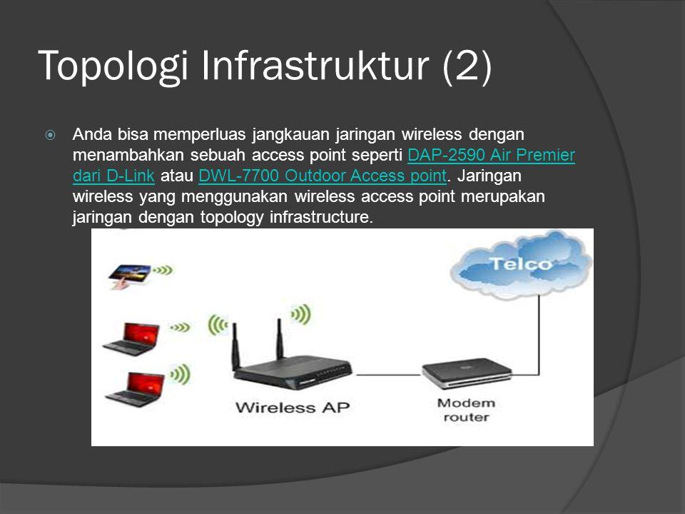 Topologi Infrastruktur (2)  Anda bisa memperluas jangkauan jaringan wireless dengan menambahkan sebuah access point seperti DAP-2590 Air Premier dari D-Link atau DWL-7700 Outdoor Access point.