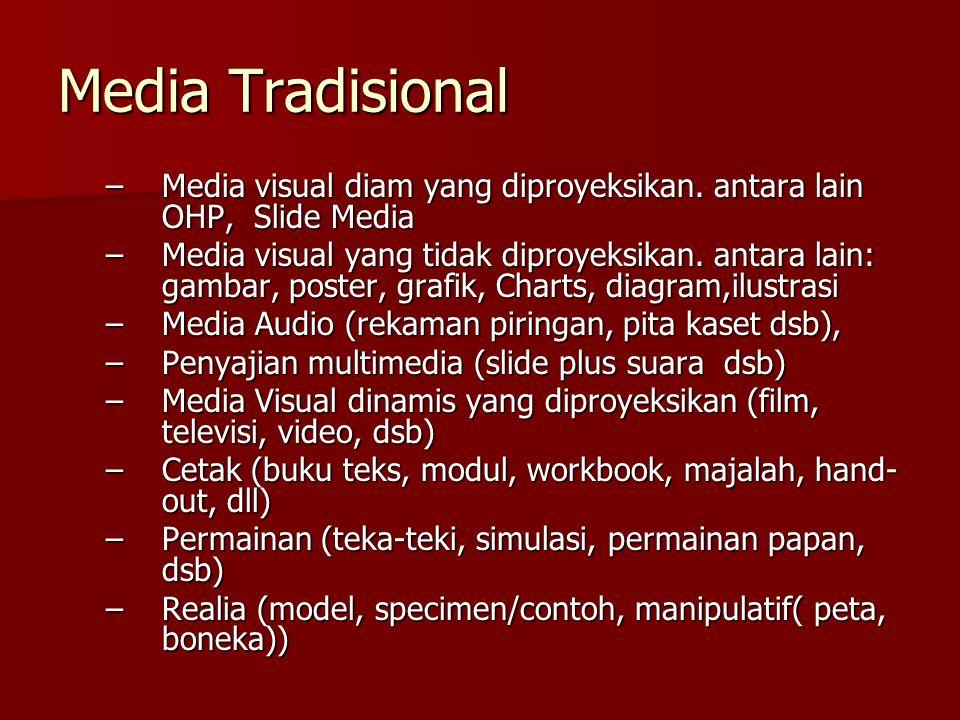 Media Tradisional –Media visual diam yang diproyeksikan.