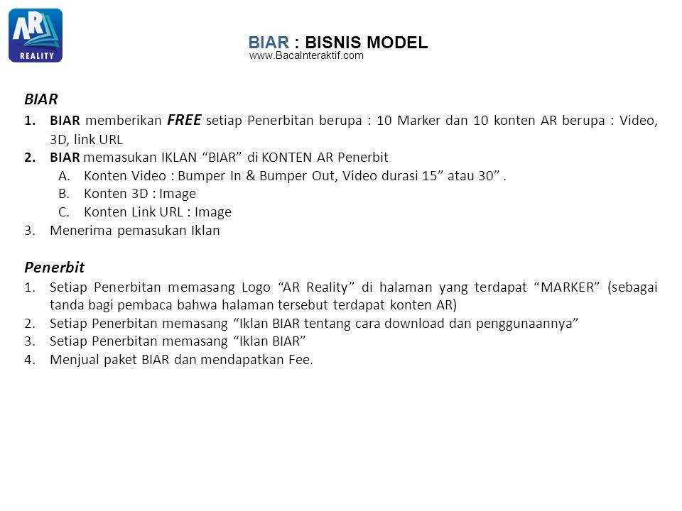 BIAR : BISNIS MODEL BIAR 1.BIAR memberikan FREE setiap Penerbitan berupa : 10 Marker dan 10 konten AR berupa : Video, 3D, link URL 2.BIAR memasukan IK