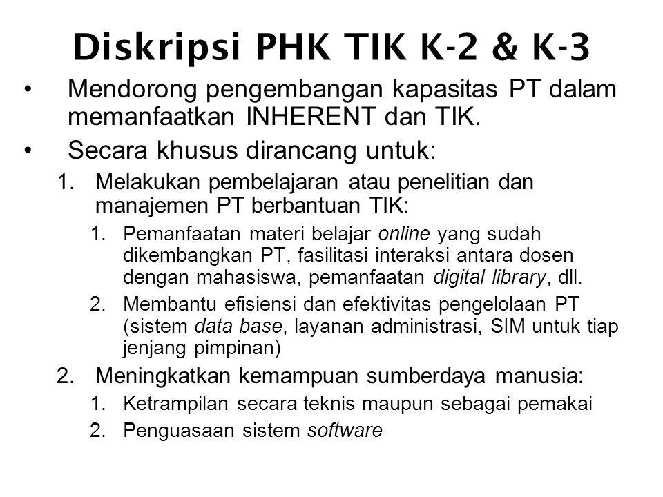Diskripsi PHK TIK K-2 & K-3 •Mendorong pengembangan kapasitas PT dalam memanfaatkan INHERENT dan TIK.