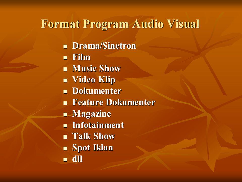 Durasi Program Secara umum semua program audio visual dalam penyampaian informasi atau pesan akan dibatasi oleh waktu atau durasi.