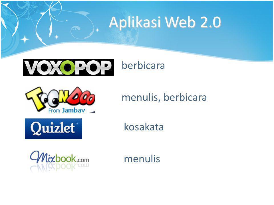 Aplikasi Web 2.0 berbicara menulis, berbicara kosakata menulis