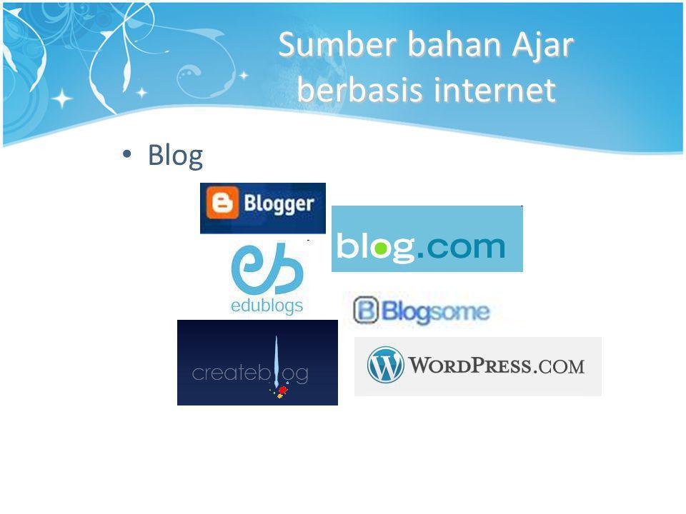 Sumber bahan Ajar berbasis internet • Blog