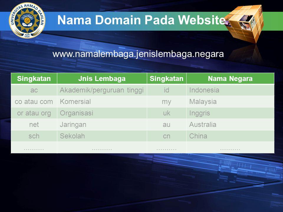 Nama Domain Pada Website SingkatanJnis LembagaSingkatanNama Negara acAkademik/perguruan tinggiidIndonesia co atau comKomersialmyMalaysia or atau orgOr