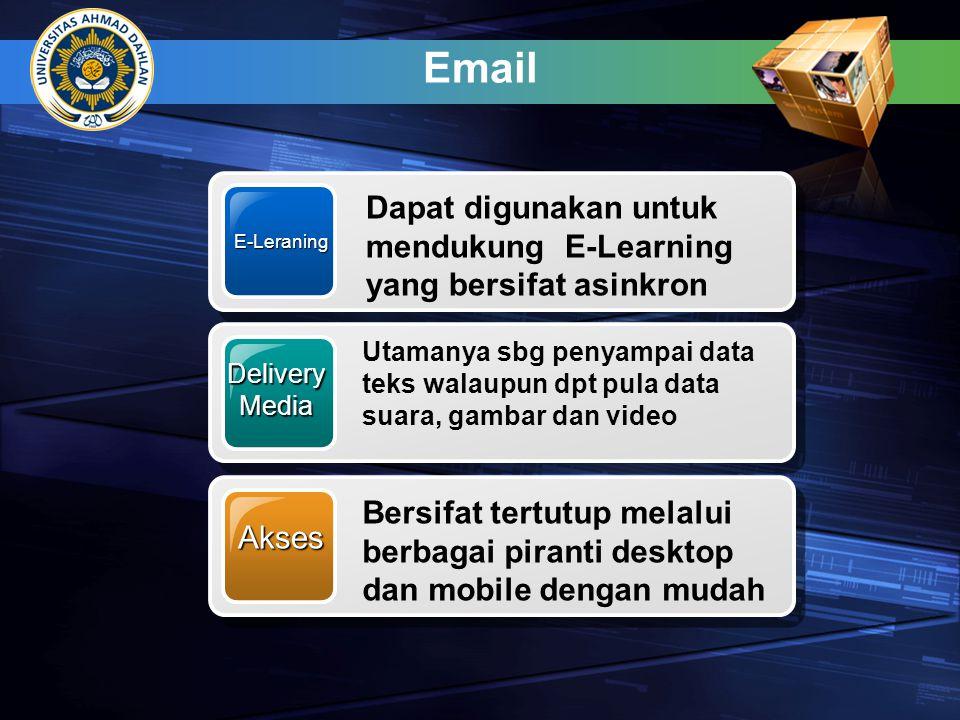 Email E-Leraning Dapat digunakan untuk mendukung E-Learning yang bersifat asinkron DeliveryMedia Utamanya sbg penyampai data teks walaupun dpt pula da