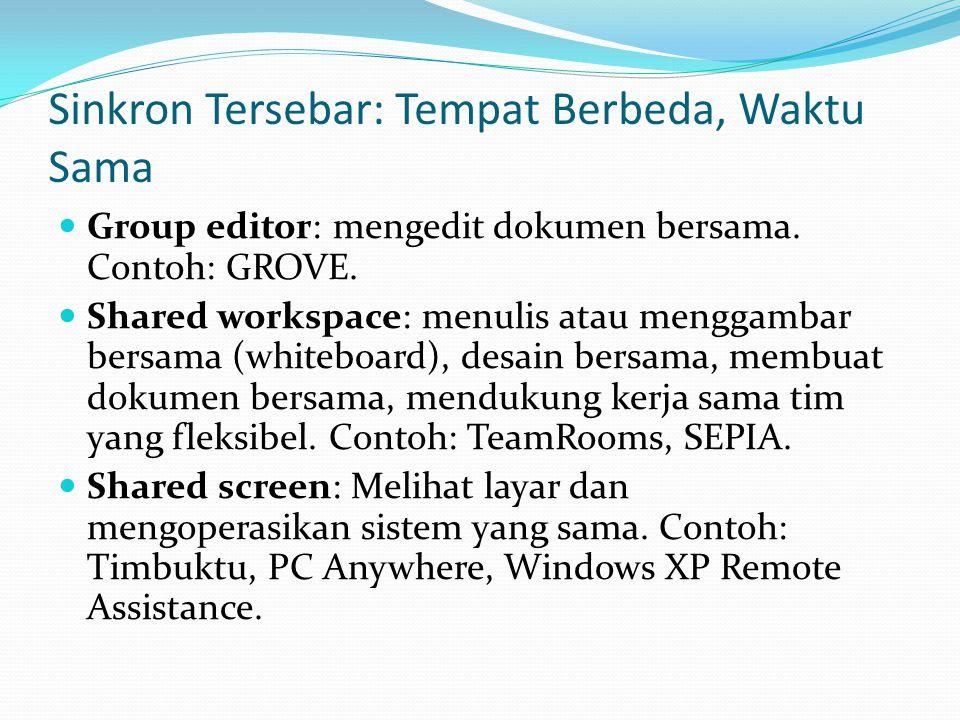 Sinkron Tersebar: Tempat Berbeda, Waktu Sama  Group editor: mengedit dokumen bersama. Contoh: GROVE.  Shared workspace: menulis atau menggambar bers